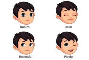 ragazzo con diverse espressioni facciali parte 1 vettore