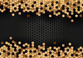 modello astratto di esagoni d'oro su sfondo nero esagonale vettore