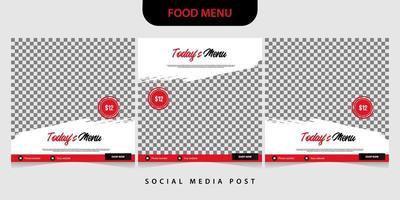 set di modello di banner di cibo per post sui social media vettore