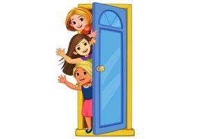 bambine che sbirciano fuori dalla porta