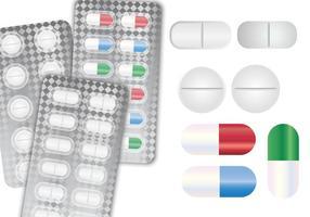 Grande insieme in bianco di vettore della scatola della pillola delle bottiglie di imballaggio di plastica