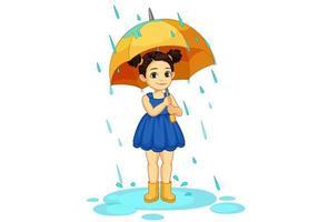 bambina sveglia che tiene un ombrello sotto la pioggia vettore