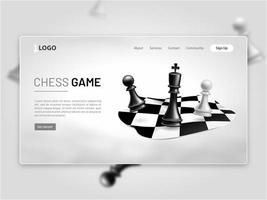 pagina di destinazione del gioco degli scacchi vettore