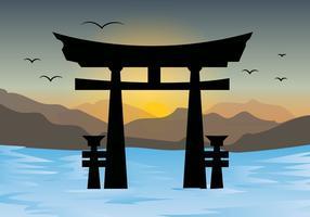 torii gates e tramonto paesaggio vettoriale