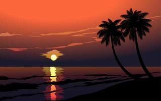 bellissima spiaggia al tramonto con palme vettore