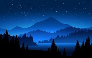 montagne alla scena del paesaggio notturno vettore