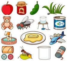 grande insieme di cibo diverso e altri oggetti su bianco