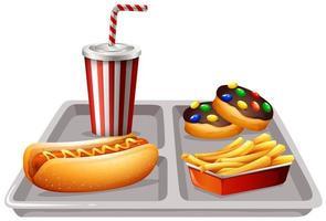 fast food e bibite sul vassoio vettore