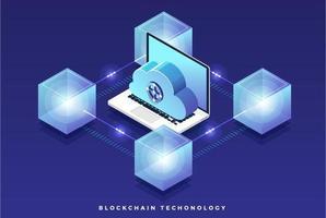 tecnologia blockchain isometrica vettore