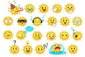 raccolta di diverse emoticon di simpatico cartone animato sole vettore