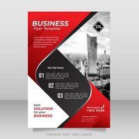 modello di volantino aziendale rosso, bianco e nero