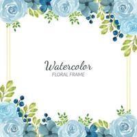 decorazione cornice floreale blu acquerello vettore