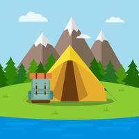 scena di escursioni e campeggio vettore