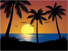 vista tramonto tropicale con palme vettore