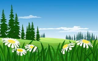 fiori nel paesaggio di prato di montagna vettore
