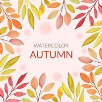 cornice di foglie d & # 39; autunno in stile acquerello