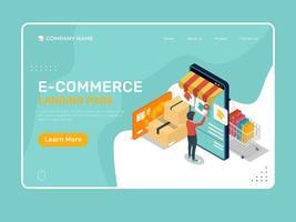 pagina di destinazione e-commerce con design isometrico dello shopping per smartphone vettore