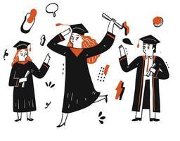 studenti che si laureano e festeggiano