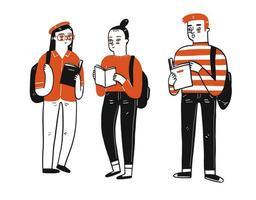 gruppo di studenti che leggono vettore