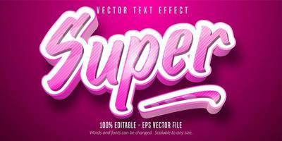 effetto di testo modificabile in stile super cartoon a strisce rosa vettore