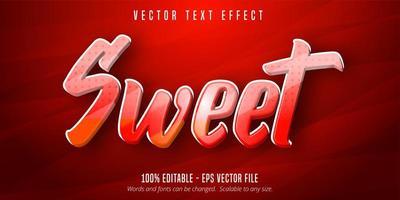 effetto di testo modificabile in stile cartone animato dolce rosso e arancione
