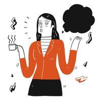 donna con una tazza di caffè a parlare