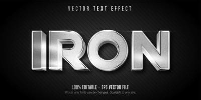 effetto di testo modificabile in stile metallico color argento ferro