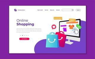 modello di pagina di destinazione per lo shopping online vettore