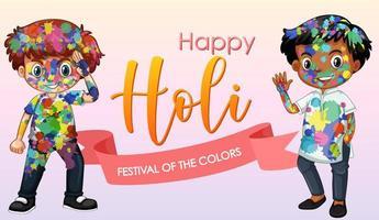 felice design di poster festival holi con sfondo colorato