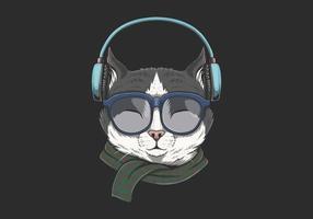 gatto indossa illustrazione delle cuffie vettore