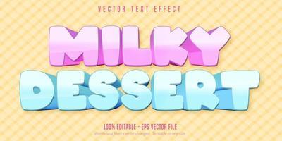 effetto di testo modificabile in stile cartone animato dolce al latte pastello vettore