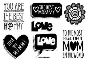 Etichette di festa della mamma disegnata a mano carina