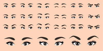 collezione di occhi femminili dei cartoni animati vettore