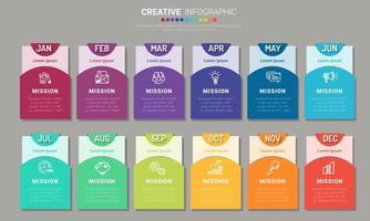 scheda di presentazione infografica per 12 mesi