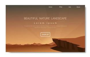 tema della pagina di destinazione del paesaggio con collina, montagna