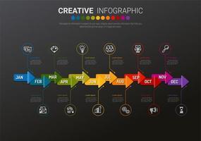 Modello di infografica freccia colorata di 12 mesi