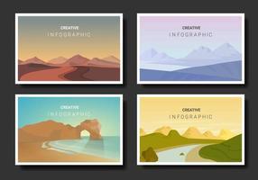 set di paesaggi in stile minimalista vettore