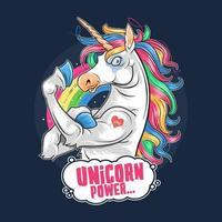 unicorno con capelli arcobaleno e muscoli forti