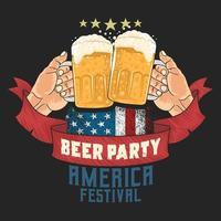poster del festival della birra americana con le mani che tostano