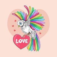 uccello con ali colorate trasporta il cuore dell'amore