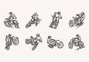 Icone disegnate a mano della bici della sporcizia vettore