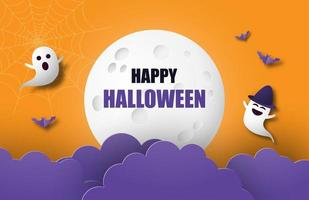 banner di Halloween con grande luna e nuvole sull'arancio