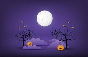 banner di halloween con grande luna, nuvole notturne