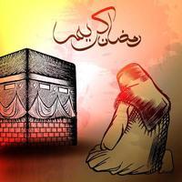 persone musulmane che pregano su kaaba. vettore