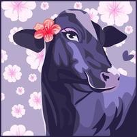 mucca viola con un fiore di ibisco sull'orecchio vettore