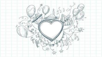 celebrazione di schizzo di buon compleanno con forma di cuore