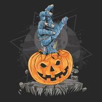 mano di zombie che esce dalla zucca di halloween vettore
