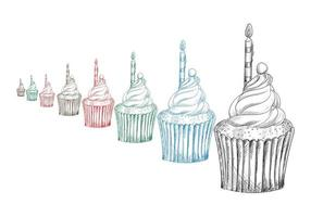bella colorata cup cake sketch set vettore