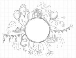 schizzo di doodle di celebrazione di buon compleanno
