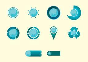 Set di icone di infografica mappa mondo vettore